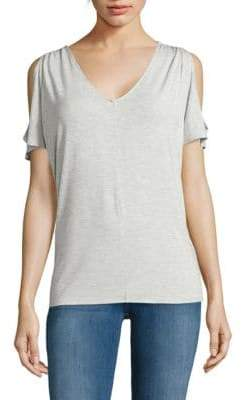 Lord & Taylor Heathered Cold-Shoulder Top