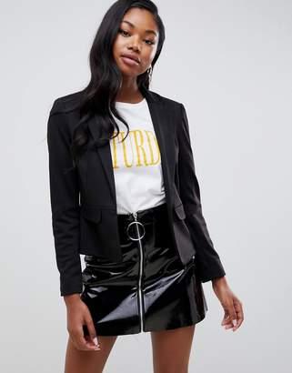 Miss Selfridge ponte blazer in black