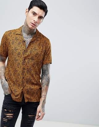 Asos Design Regular Fit Paisley Print Shirt With Revere Collar In Mustard