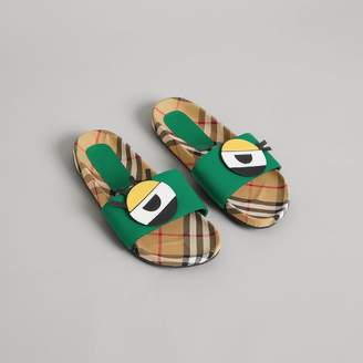 Burberry Childrens Eye Appliqué Vintage Check and Leather Slides