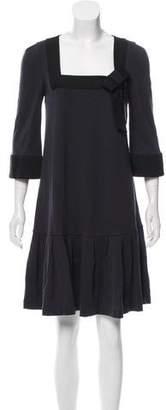 Diane von Furstenberg Three-Quarter Sleeve Pleat Dress