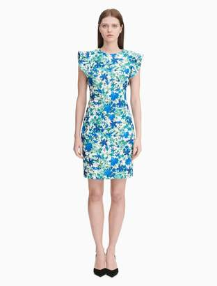 Calvin Klein Floral Flutter Sleeve Sheath Dress