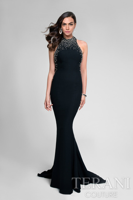 Terani Prom - Crystal and Pearl Halter Fit and Flare Prom Gown 1712P2534 $495 thestylecure.com