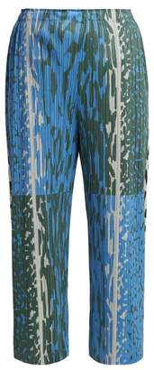 Pleats Please Issey Miyake Flash Animal Print Pleated Trousers - Womens - Blue Print