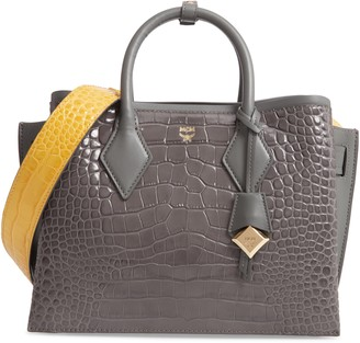 MCM Neo Milla Croc Embossed Calfskin Leather Tote