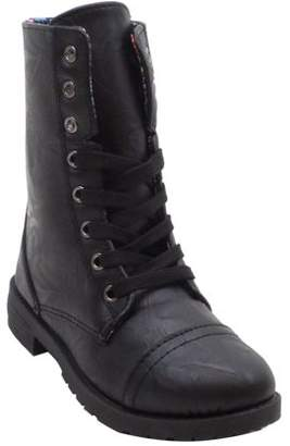 BLUE SUEDE SHOES Blue Suede Girls' Combat Boots With Colorful Patchwork