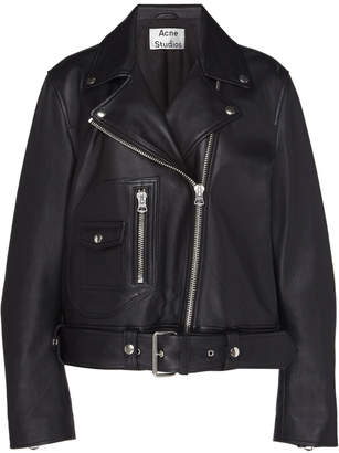 Acne Studios New Merlyn Belted Leather Motorcycle Jacket