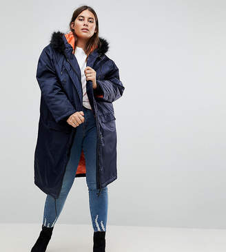 Brave Soul Plus Full Moon Maxi Parka Coat