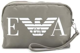 Emporio Armani logo print make up bag