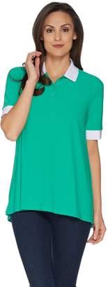 Susan Graver Textured Liquid Knit Polo Shirt