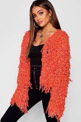 boohoo Chenille Shaggy Knit Cardigan