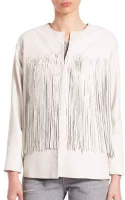 Eleventy Leather Fringe-Trimmed Jacket