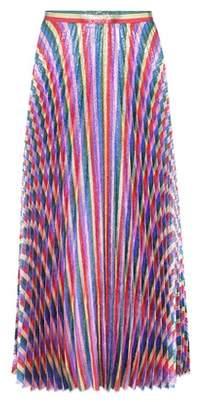 Gucci Striped silk-blend lamé skirt