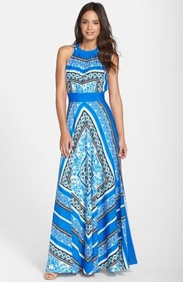 Women's Eliza J Scarf Print Halter Crepe De Chine Maxi Dress $158 thestylecure.com