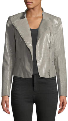 Lafayette 148 New York Cropped Faux-Leather Moto Jacket, Camel