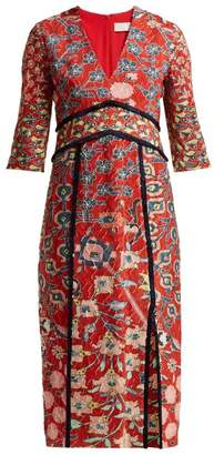 Peter Pilotto Floral Printed Jacquard Midi Dress - Womens - Red Multi