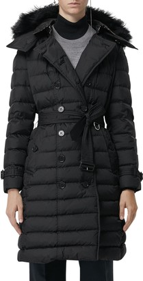 Burberry Dalmerton Quilted Down Puffer Coat with Removable Genuine Shearling Trim