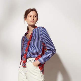 Sandro Striped shirt with printed insets
