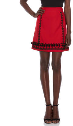 Kate Spade Pom Pom Embroidered Mini Skirt