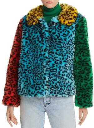 Alice + Olivia Jerri Color-Block Leopard-Print Faux Fur Coat