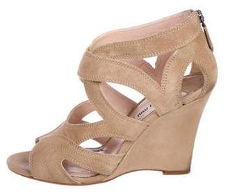 Miu Miu Suede Zip-Up Wedges