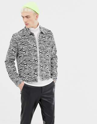 Asos DESIGN zebra print denim jacket