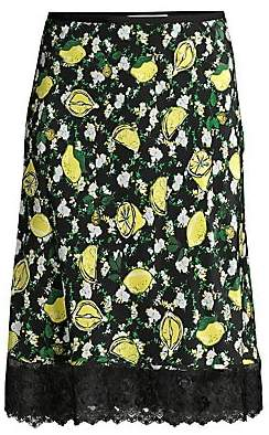Diane von Furstenberg Women's Chrissy Floral Silk Knee-Length Skirt