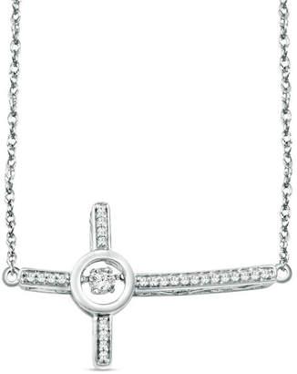Zales Unstoppable Lovea 1/8 CT. T.W. Diamond Sideways Cross Necklace in Sterling Silver