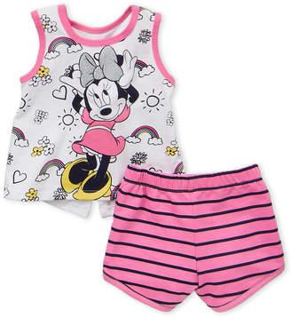 Minnie Mouse (Infant Girls) Two-Piece Minnie Tank & Stripe Shorts Set