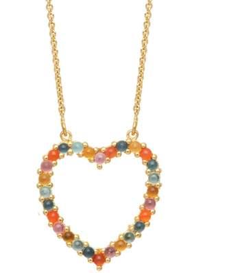 Lola Rose London - Heart Medium Charm Necklace Carnelian & Sky Blue Topaz