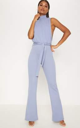 PrettyLittleThing Dusky Blue Scuba High Neck Tie Waist Jumpsuit