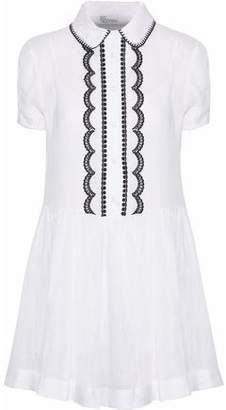RED Valentino Embroidered Ramie-Voile Mini Dress