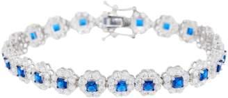 Diamonique TOVA Simulated Sapphire Halo Tennis Bracelet Sterling Silver