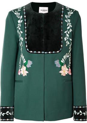 Vilshenko Rosie Velvet-paneled Embroidered Wool-twill Jacket - Emerald