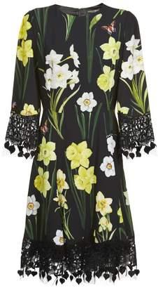 Dolce & Gabbana Dolce \u0026 Gabbana Floral Lace Trim Dress