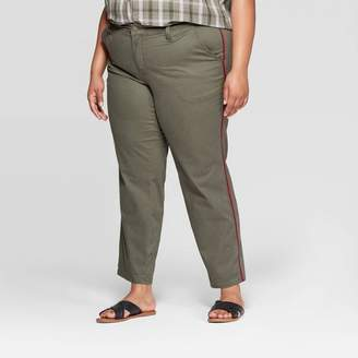 Universal Thread Women's Plus Size Mid-Rise Straight Cropped Jeans Olive