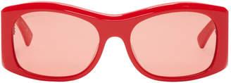 Balenciaga Red Oversized Thick Round Sunglasses