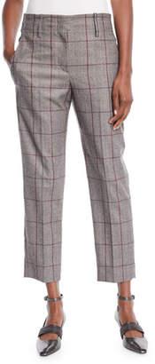 Brunello Cucinelli Plaid Windowpane Wool Straight-Leg Ankle Pants