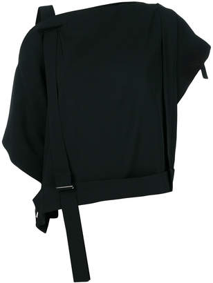 Issey Miyake dropped shoulder strap detail top