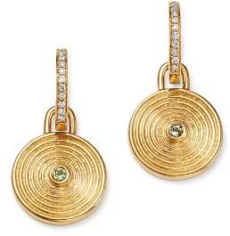 Kiki McDonough 18K Yellow Gold Fantasy Green Amethyst & Diamond Small Drop Earrings