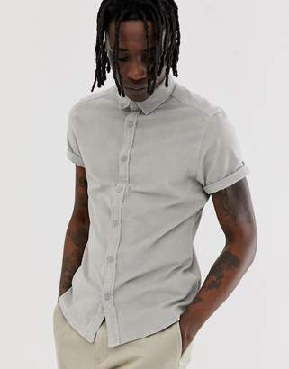 Asos Design DESIGN slim fit stretch cord shirt in pale grey
