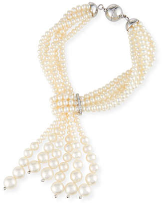 Utopia Multi-Strand Pearl Tassel Bracelet with Diamonds
