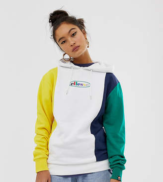 Ellesse relaxed hoodie with rainbow front logo in color block exclusive to ASOS