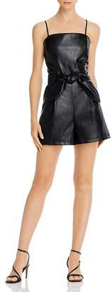Lucy Paris Belted Faux Leather Romper - 100% Exclusive