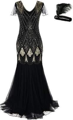General Women 1920s Flapper Cocktail Maxi Long Gatsby Evening Dress Mermaid Formal Gown (, M)