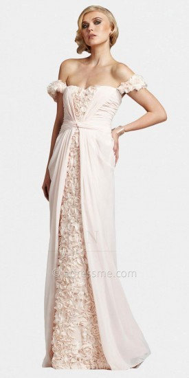 Mignon Romantic Blush Floral Off Shoulder Evening Dresses