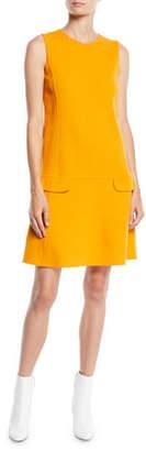 Oscar de la Renta Jewel-Neck Sleeveless Belted Shift Wool-Blend Short Daytime Dress