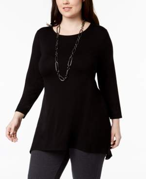 Alfani Plus Size Woven-Back Top, Created for Macy's