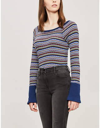 Free People Donna striped knitted jumper
