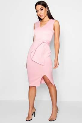 boohoo Eugenie Bow Detail Midi Dress